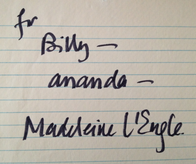 Madeleine L'Engle autograph